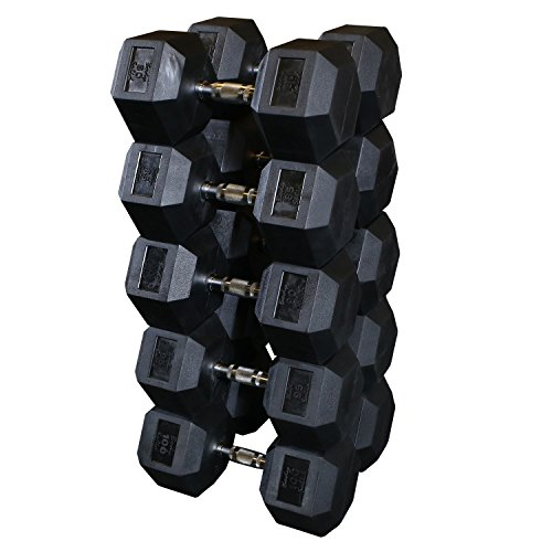 Body Solid SDRS550 5-50-Pound Rubber Hex Dumbbell Set