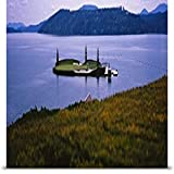 GREATBIGCANVAS Entitled Golf Course in a Lake, Floating Golf Green, Coeur d'Alene Resort, Coeur d'Alene, Kootenai County, Idaho Poster Print, 90' x 33', Multicolor
