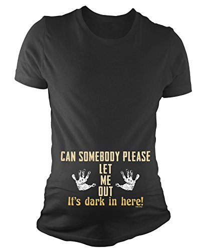 BritTot T-Shirt de maternité pour Dames Can Somebody Please Let me Out Its Dark in Here Funny bébé Cadeau de Grossesse by