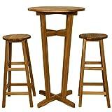 tidyard Set Tavolino Bar/Set Mobili Bistro per Interno Che Esterno, Tavolo con 2 Sedie, Le...