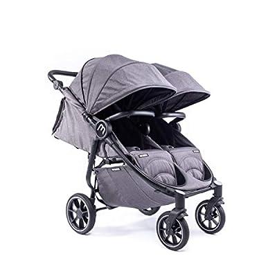 Silla Gemelar Easy Twin 4 Chasis Negro Baby Monsters Plástico de Lluvia y Barras Frontales incluidas Color Texas
