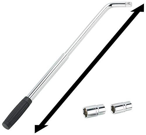 AGT Radschlüssel: Teleskop-Radmutternschlüssel mit 2 Aufsätzen für 17, 19, 21 & 23 mm (Radmutterschlüssel)
