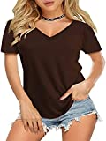 Camiseta de Mujer de Manga Corta con Cuello en V Camiseta de Verano Suelta Camiseta básica de túnica Top Casual de Verano Camiseta Túnica Suelta Camiseta de Color Puro Camisa de Manga Corta Informal