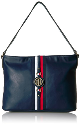 Hobo purse featuring the Tommy Hilfiger women signature flag stripe and gold TH hardware Top handle with gold hardware details. Flat bottom, top zip closure Lined nylon interior with wall zip pocket and slip pocket This Tommy Hilfiger bag is a versat...