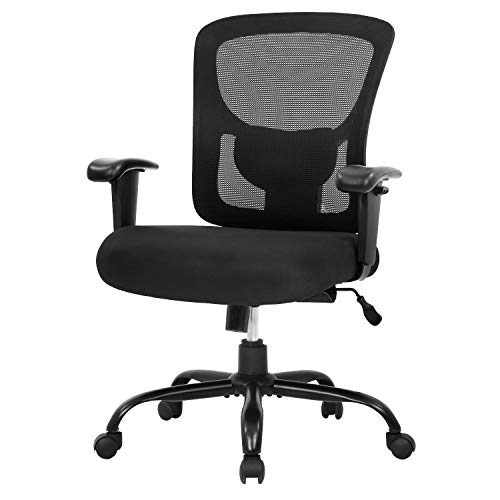 Big and Tall Office Chair 400lbs Desk Chair Mesh Computer Chair with Lumbar Support Wide Seat Adjust Arms Rolling Swivel High Back Task Executive Ergonomic Chair for Home Office (Black)