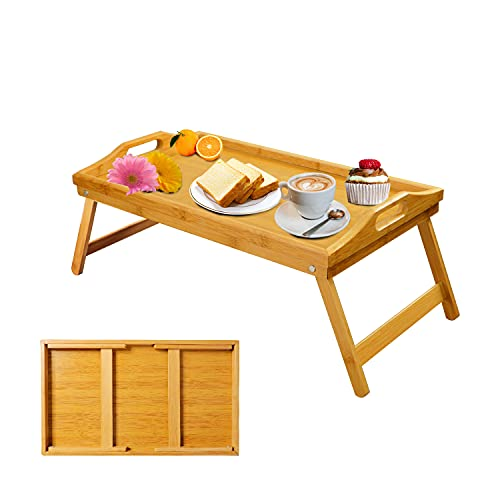 Bamboo Bed Tray for Eating Breakfast Bed Tray Table with Foldable Legs for Kids, Sofa, Bed, Working, Used As Laptop Desk Table Snack Serving Tray
