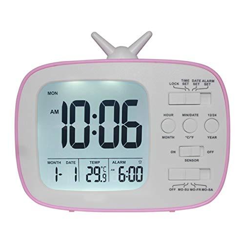 Hanpmy lcd digitale wekker, mooie tv-vorm kinderwekker, datum temperatuurweergave met snooze/geheugenfunctie nachtkastje, roze, 1