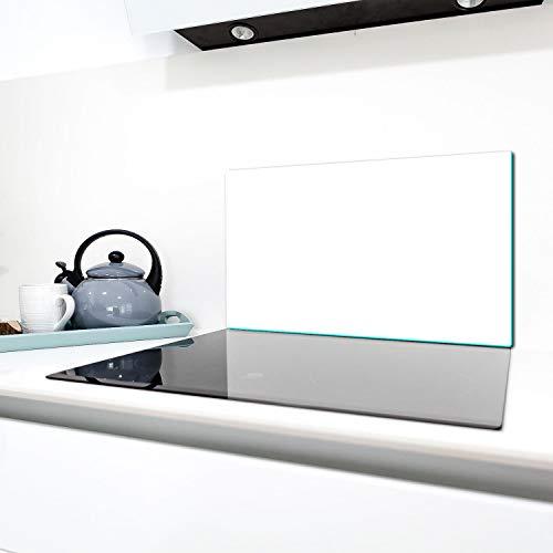 TMK - Placa protectora de vitrocerámica 90 x 52 cm 1 pieza cocina eléctrica universal para inducción, protección contra salpicaduras tabla de cortar de vidrio templado como decoración, blanco