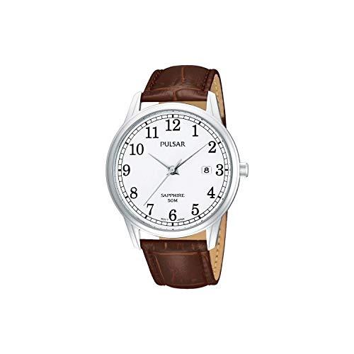 Pulsar Quarz Herren-Uhr Edelstahl mit Lederband PS9055X1