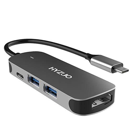 HYZUO USB C Hub Adapter 4-in-1 Konverter Typ C Hub mit 4K HDMI/USB 3.0/ USB 2.0/ USB C Stromversorgung Kompatibel mit MacBook Pro/Dell XPS/Surface Book/& weiteren Typ C Geräten, Grau