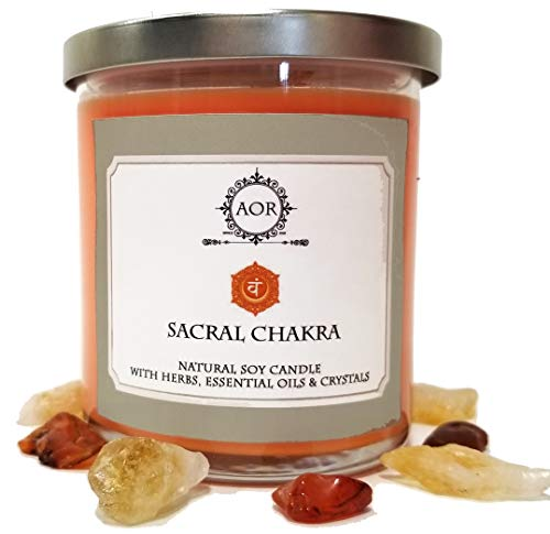 Art of the Root Sacral Chakra Soy Candle 8.5 oz with Red Carnelian & Citrine Crystals, Herbs & Essential Oils for Creativity, Joy, Transformation & Movement (Wiccan Pagan Magick Spirituality)