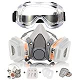 Respirator Mask Zelbuck Half Facepiece Gas Mask with Safety Glasses Reusable Professional Breathing Protection...