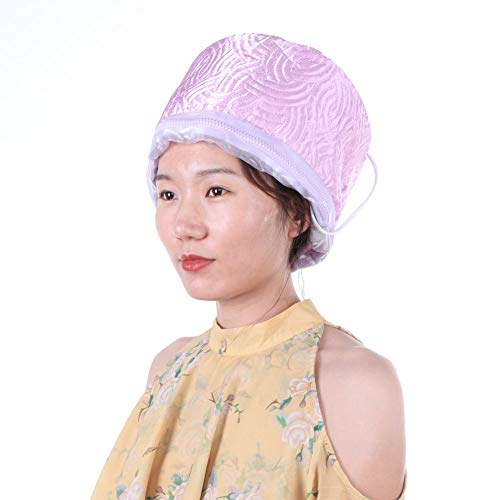 Capuchon à vapeur pour cheveux, Capuchon thermique pour cheveux électriques, Masque capillaire amovible Chapeaux nourrissants Soins capillaires Bonnets chauffants pour la maison (rose)(EU)