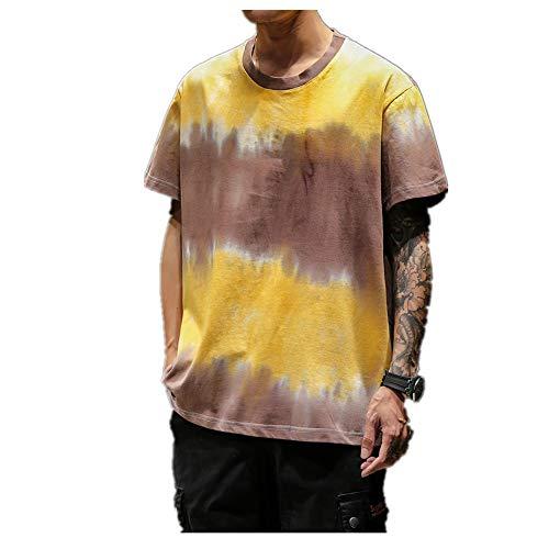 NOBRAND Sommer-T-Shirt mit Batik-Tinte, kurzärmelig, für Herren, groß, Macheda, Jugendliche, Freizeit Gr. XXXXX-Large, gelb