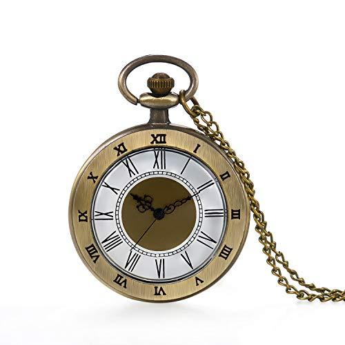 Vintage Tree of Life Hollow Bronze Reloj de bolsillo de cuarzo marcadores árabes tallados hombres y mujeres relojes con collar colgante de cadena