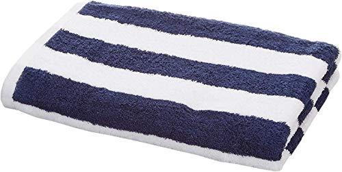 Amazon Basics - Toalla de playa, de rayas Cabana, color azul marino, pack de 1