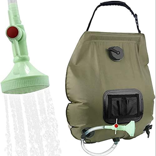 DXH Bolsa de Ducha de Camping, 5 galones de Bolsa de Ducha de Campo Solar portátil Trabajar con Carpa de Ducha para Camping Playa Nadar al Aire Libre Viajes (Color : Green)