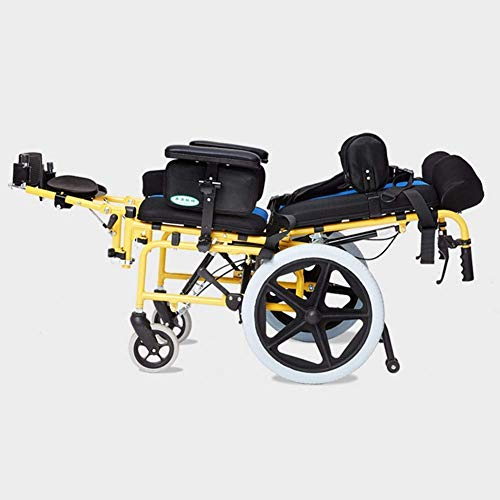 TYZXR Carrozzina Pieghevole per Bambini Leggera, paralisi cerebrale Carrozzina per Bambini Multifunzionale Disabile per Bambini Passeggino reclinabile Piatto