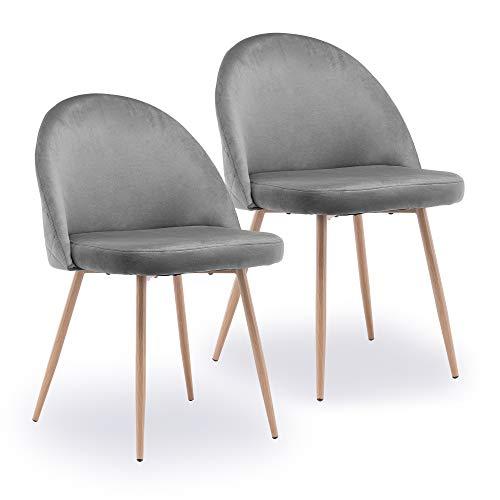 Esszimmerstühle 2er Set, Diealles Küchenstuhl Wohnzimmerstuhl Polsterstuhl Design Stuhl mit Armlehne, Sitzfläche aus Samt, Gestell aus Massivholz, Dunkelgrau
