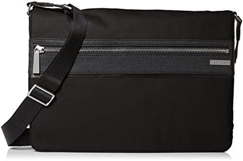 Calvin Klein Men's Coated Nylon with Saffiano Trim Messenger, Black