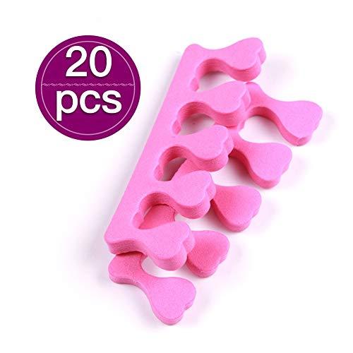 Lot de 20 séparateurs d'orteils en mousse jetables pour ongles, pédicure, manucure, rose