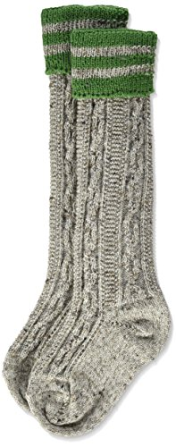 Lusana Jungen Kinderstrumpf mit Zopfmuster und Ringel Loden Tweed Kniestrümpfe, Braun (Braunmeliert/Smaragd 936), 38 (Herstellergröße: 38-40)