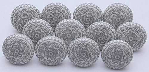 Ajuny - Set di 10 pomelli indiani in ceramica grigia e bianca per cassettiere, cassettiere, credenze, credenze, armadietti da bagno, cucina