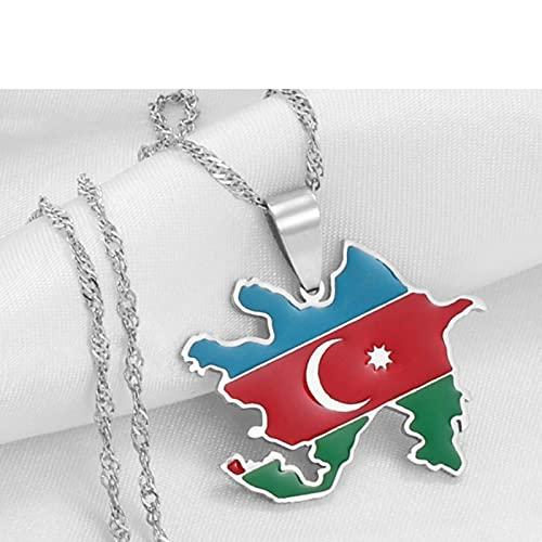 Karte Von Aserbaidschan Anhänger Halsketten - Charme Ethnischen Afrika Dünne Kette Halsketten, Gold Farbe Patriotische Karten Flagge Hip Hop Schmuck Für Frauen Männer Trend Party Geschenk, Silbe