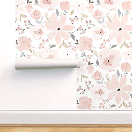 Peel-and-Stick Removable Wallpaper - Flora Blush Watercolor Floral Spring Bedding Large Nursery by Indybloomdesign - 12in x 24in Woven Textured Peel-and-Stick Removable Wallpaper Test Swatch