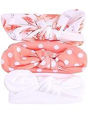 Julhold Juego de 3 diademas para niños multicolor con diseño floral y orejas de conejo para niñas bebé elástico bowknot accesorios para el pelo lazos clips