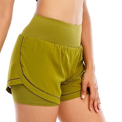 Lixada Pantalones Cortos de Yoga 2 en 1 para Mujer Cintura Elástica...