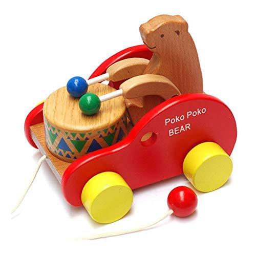 FlyCreat 木のおもちゃ 赤ちゃん 引っ張る おもちゃ プルトイ 引き車 ポコポコくまさん あかちゃん 木製玩...