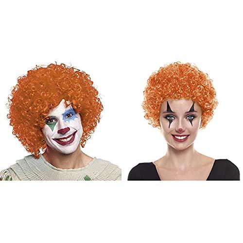 Peluca Payaso Naranja Rizada [70 gr] Adultos Hombre Mujer UnisexColores Variados Pelucas Disfraces Carnaval Halloween Fiestas Clown Disco Cosplay