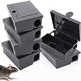 Lot de 6 boîtes pour appâts à souris + Ebook - Poste d'appâtage professionnel pour pose de souricide - piège en plastique robuste pour maison - intérieur et l'extérieur - raticide pour dératisation