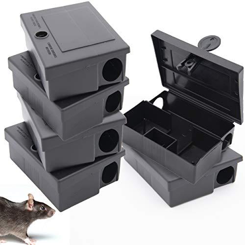 Lot de 6 boîtes pour appâts à souris + Ebook - Poste d'appâtage professionnel pour souricide - NE CONVIENT PAS POUR LES RATS - piège pour pose de poisons pour la maison - intérieur et extérieur