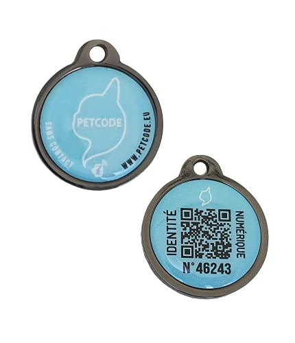 PETCODE – Medalla de identificación modelo JOYCE azul 30 mm – Medalla conectada para collar perro.