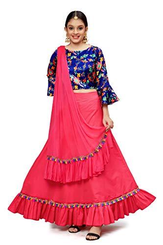 Fashion Dream Girl's Cotton Silk Digital Printed Readymade Lehenga Choli(Ylw)