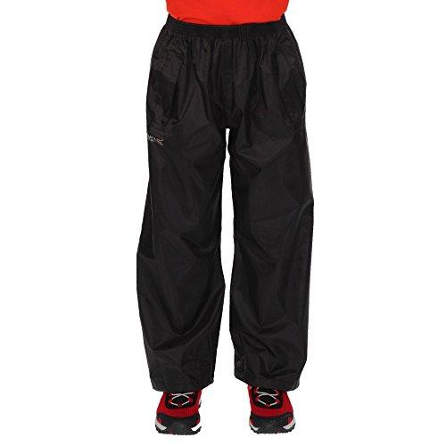 Regatta Kids Stormbreak Waterproof Taped Seams 2 Side Pockets Press Studs at Hem Over Trousers Overtrousers - Black, 13 Years
