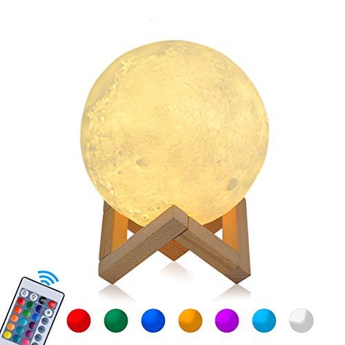 15cm RGB Mond Lampe LED Moon Nachtlicht Dimmbare Touch COSANSYS Nachtlampe tragbares mit Fernbedienung USB Aufladung 16 Farben Dekoleuchte für Schlafzimmer,Cafe, Bar als Weihnachten Geschenk