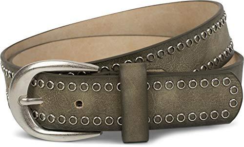 styleBREAKER Nietengürtel mit Lochnieten, Vintage Nieten Gürtel, kürzbar, Unisex 03010080, Farbe:Oliv, Größe:95cm