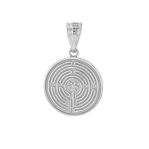 Dainty 925 Sterling Silver Chartres Meditation Labyrinth Disc Charm Pendant