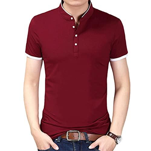 Ctcegtxfx Verano de la camiseta de los hombres de color sólido slim fit manga corta camiseta hombres casual camisetas