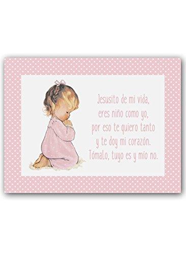 CUADRIMAN   Cuadro Infantil Niña rezando con Oración Jesusito. Tamaño 25 x 32cm. Impreso sobre lienzo