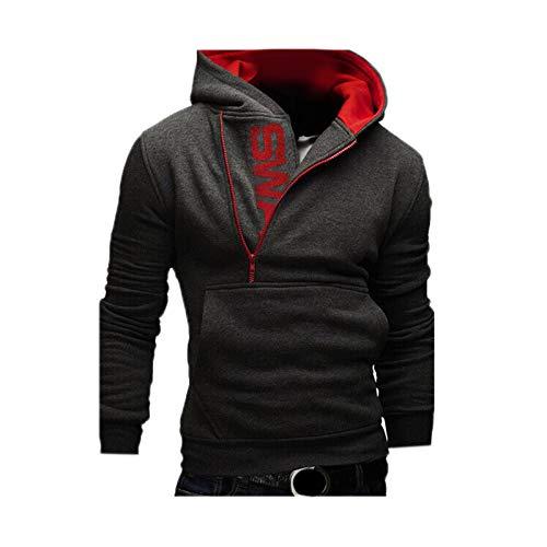 WSLCN Homme Sweat Shirt à Capuche Manches Longues Demi Fermeture Eclair Couleur Contraste Shirts à Capuche Gris foncé FR XL (Asie XXXXL)