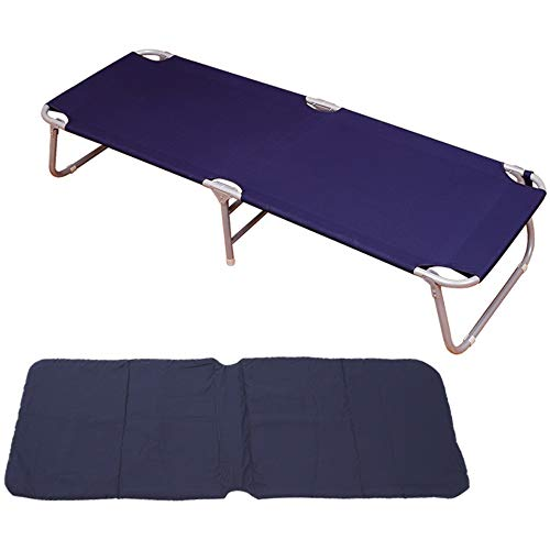 ZQS Folding Bed Chair +Thick Canvas Folding Bed Single Bed Portable Folding Bed Hospital Accompanying Bed Office Simple Nap Bed 182cm Blue, 2 Styles Indoor and Outdoor can (Size : Thick pad)