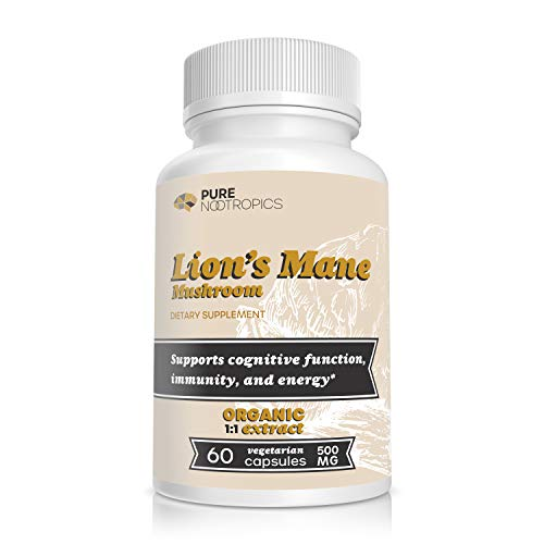 Pure Nootropics - Lion's Mane Mushroom 500 mg Capsules | 60 Veggie Caps | Superior Organic Sourcing | Improve Brain Function | in House & Rigorous 3rd Party Testing for Higher Purity & Potency