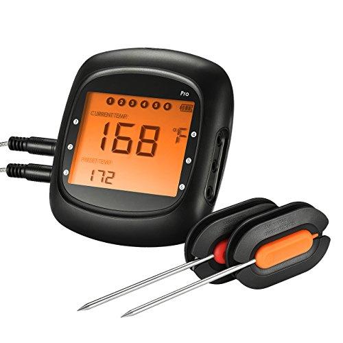 Grillthermometer, TOPELEK Bluetooth Ofenthermometer Großes Display mit Hintergrundbeleuchtung, Sofortiges Auslesen, Magnetisches Montagedesign, 2 Sonden enthalten für Küche, Grill, Essen, Steak.
