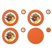 ラウンド プレイス マットとコースター、テーブル マット 4 枚/コースター 4 枚 PU フェイク レザー 耐熱性ノンスリップ マット ホーム レストラン ダイニング テーブル マット オレンジ