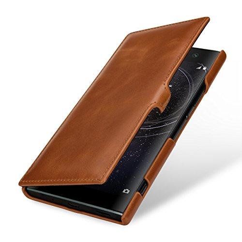 StilGut Book Type, Leder-Hülle kompatibel mit Sony Xperia XA2 Ultra, Cognac mit Clip