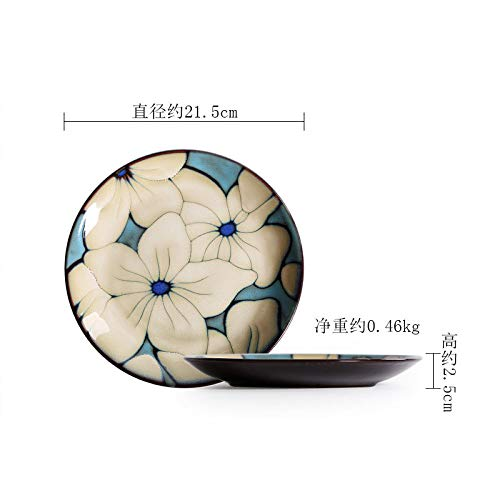 LXLN Assiette à Dessert Creuse en céramique,Plat Rond Profond en céramique Peint à la Main,Assiette Vintage,Assiette Plate de 21,5 cm (21,5 cm),Porcelaine Vaisselle Service Assiettes